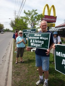 Tompkins County Organizers Rally Outside Ithaca McDonald's on National Day of Action Targeting Fast Food Restaurants in May 2014