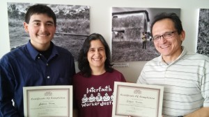 Ed Triana, on the left; Maria Gutierrez (IWJ OSH Coordinator); and Antonio Triana in Chicago after successfully completing their Train-the-Trainer training.