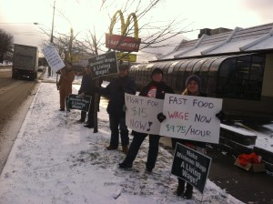 The Ithaca College Adjunct Professors Union and Midstate Central Labor Council in front of McDonalds in Ithaca (Elmira Road)